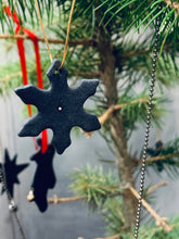Load image into Gallery viewer, Three black porcelain snowflakes