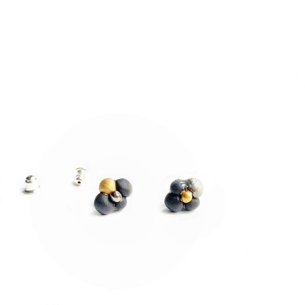Black porcelain stud earrings