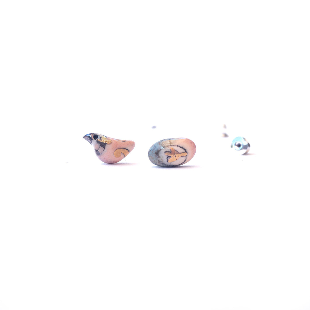 "Ceramic mismatched earrings ""Pink bird and its beautiful egg"""