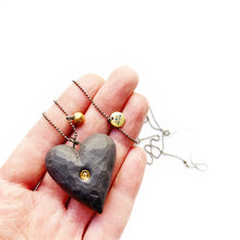 Load image into Gallery viewer, Black porcelain BIG HEART pendant