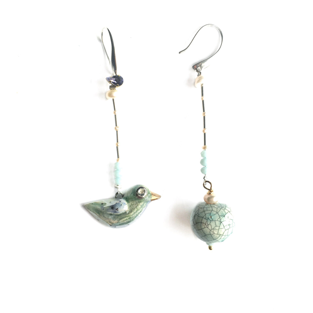 "Ceramic mismatched earrings ""Bird and its world"""
