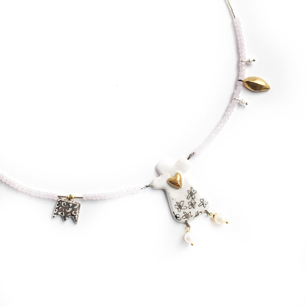 Rosy petals angel necklace