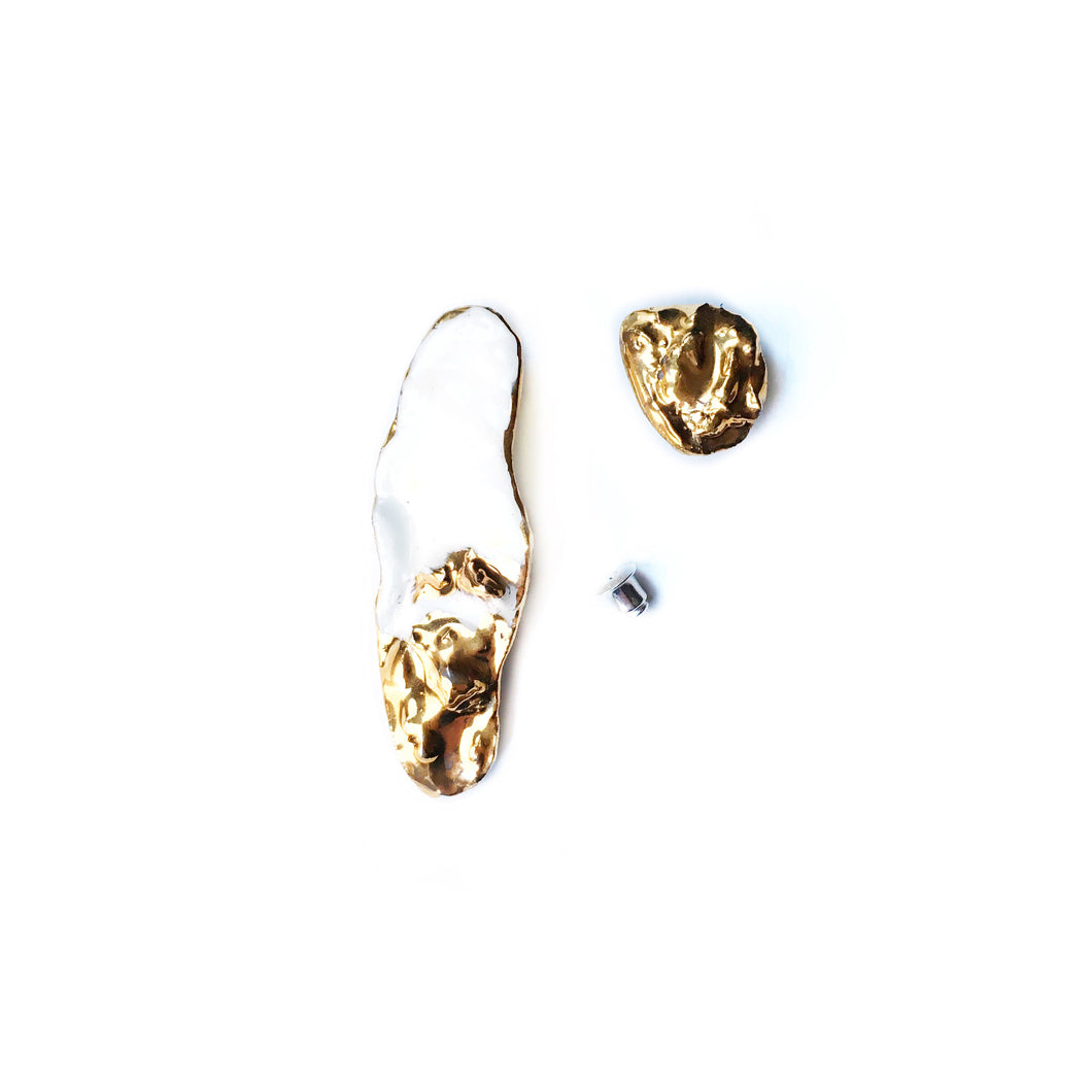 White porcelain earrings GOLDEN OSTREA EDULIS