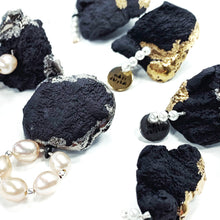 Load image into Gallery viewer, Black porcelain luxurious earrings MOUNTAINS & PEARLS 2