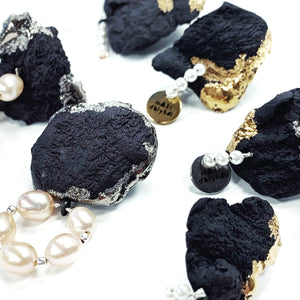 Black porcelain luxurious earrings MOUNTAINS & PEARLS 2