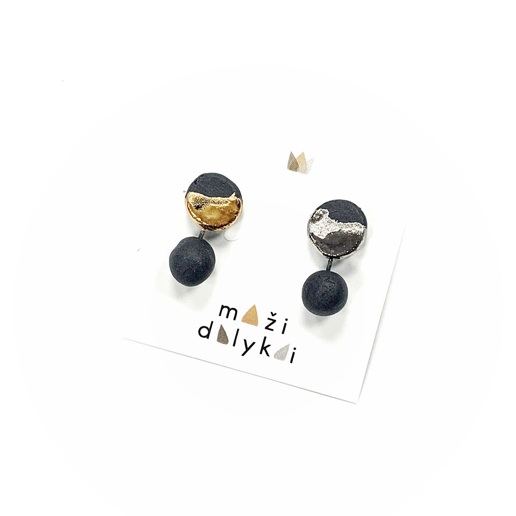 Black porcelain earrings DOTS AND CIRCLES