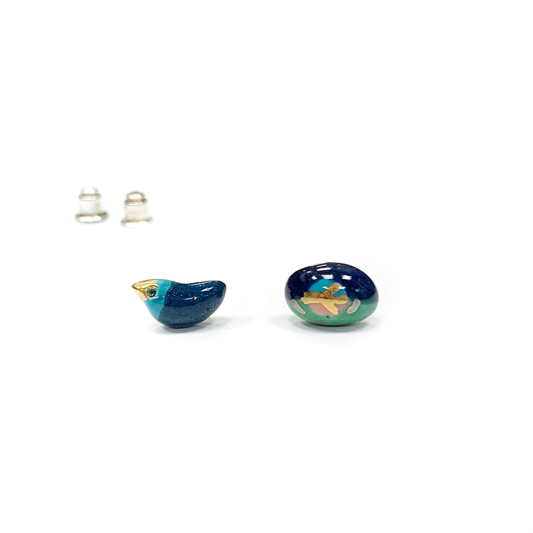 Ceramic mismatched earrings BIRD AND EGG