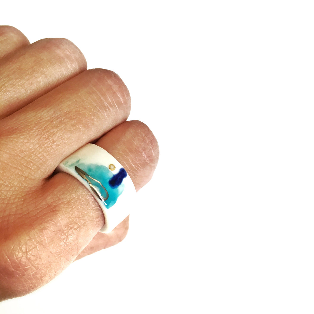 White porcelain ring, two in one SEA GAMES
