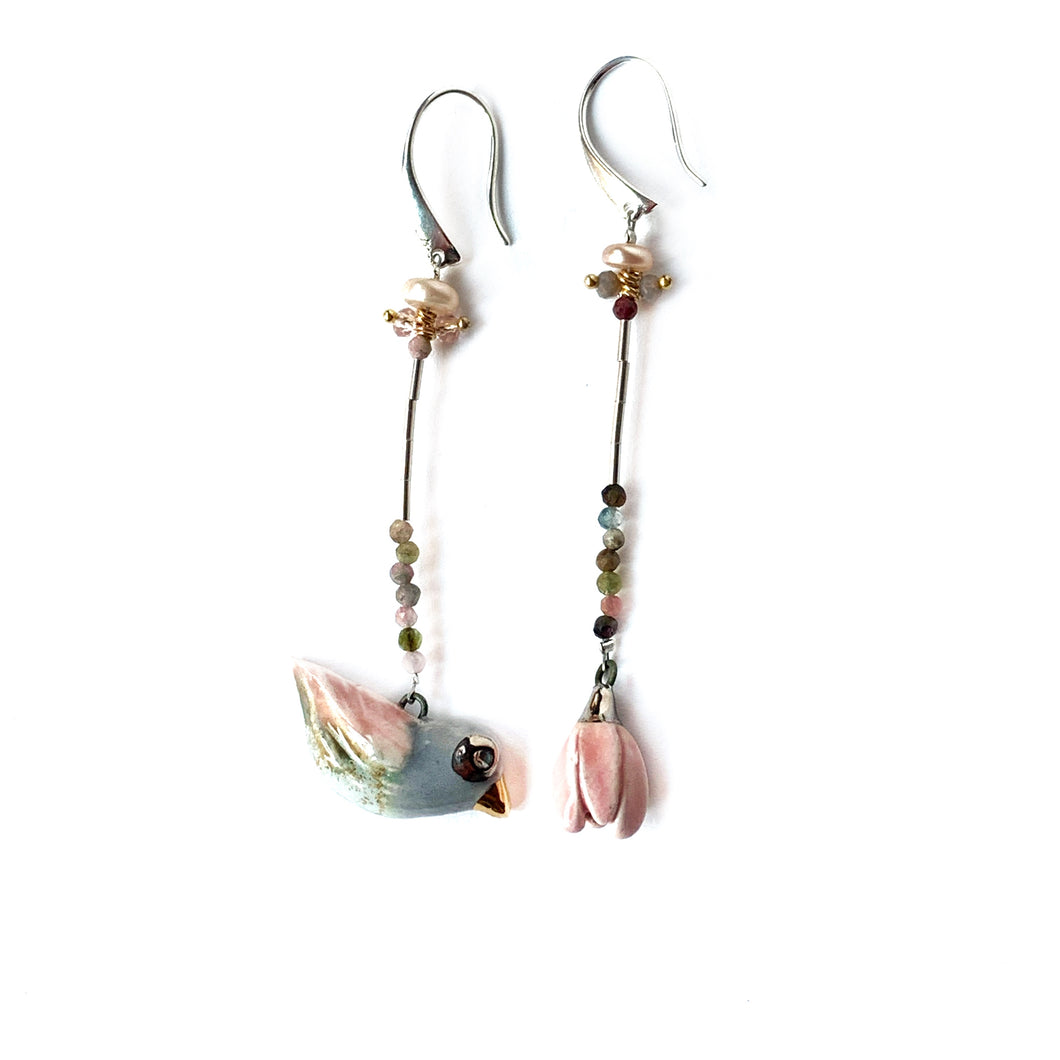 mismatched ceramic earrings