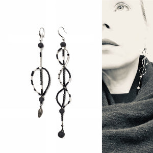"Long assymetric black porcelain earrings ""November leaves 2"""
