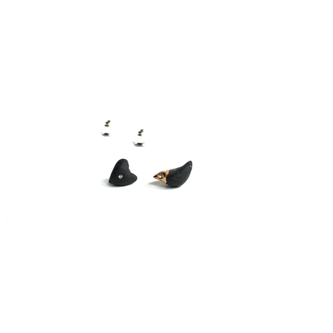 Black porcelain assymetric earrings Bird and its black love