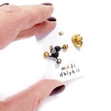 Load image into Gallery viewer, Black porcelain earrings MINI VIRUS 1