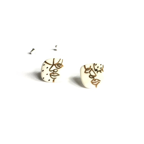 "White porcelain faces earrings ""Your mask"""