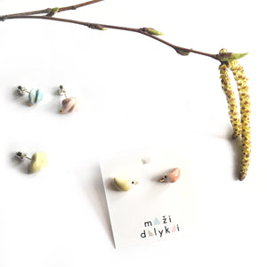 "Ceramic mismatched earrings ""Spring birds"""