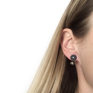 "Black porcelain ""Orbit and water"" earrings"