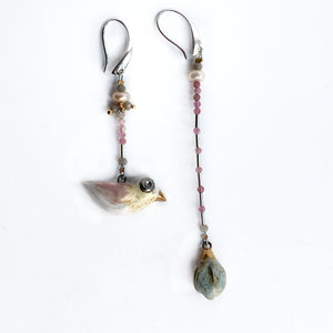 "Ceramic mismatched earrings ""Bird and its gentle flower"""