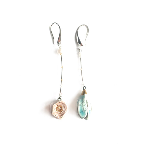 Mismatched ceramic earrings Rose and water magnolia