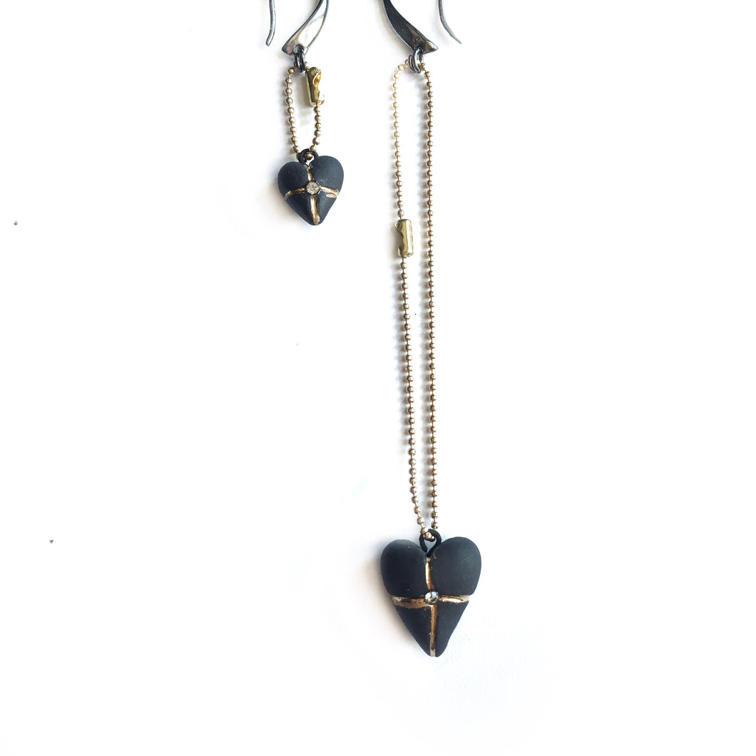 Black porcelain earrings TWO HEARTS
