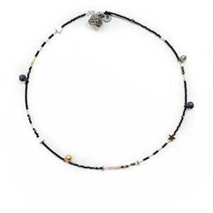 Minimalistic necklace - bracelet with black porcelain pendants