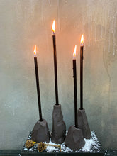Load image into Gallery viewer, Dark ceramic candle holders THE ROCKS set of 4