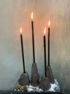 Dark ceramic candle holders THE ROCKS set of 4