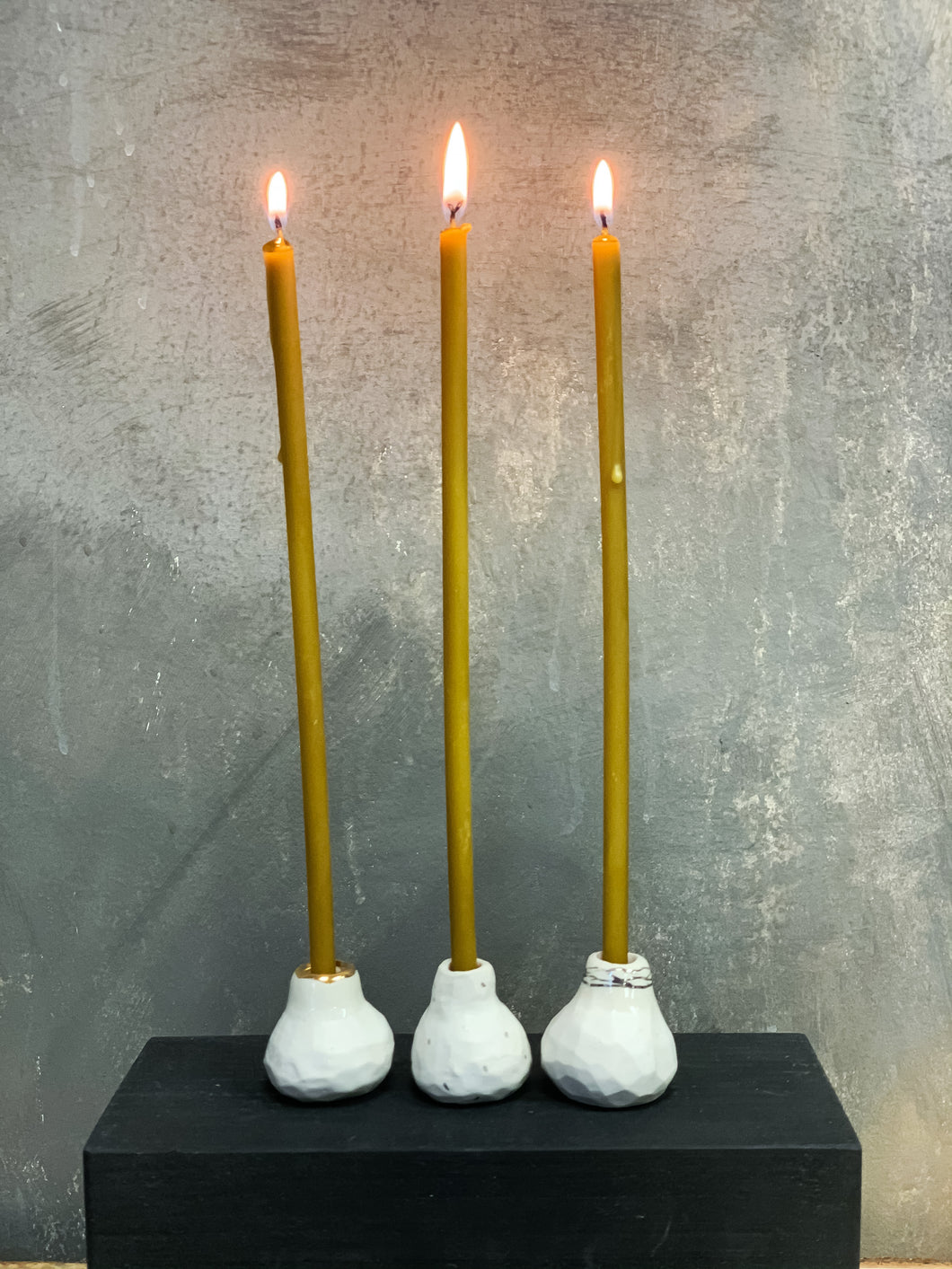 White mate ceramic candle holders SNOW FIG set of three