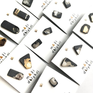 Black porcelain square earrings