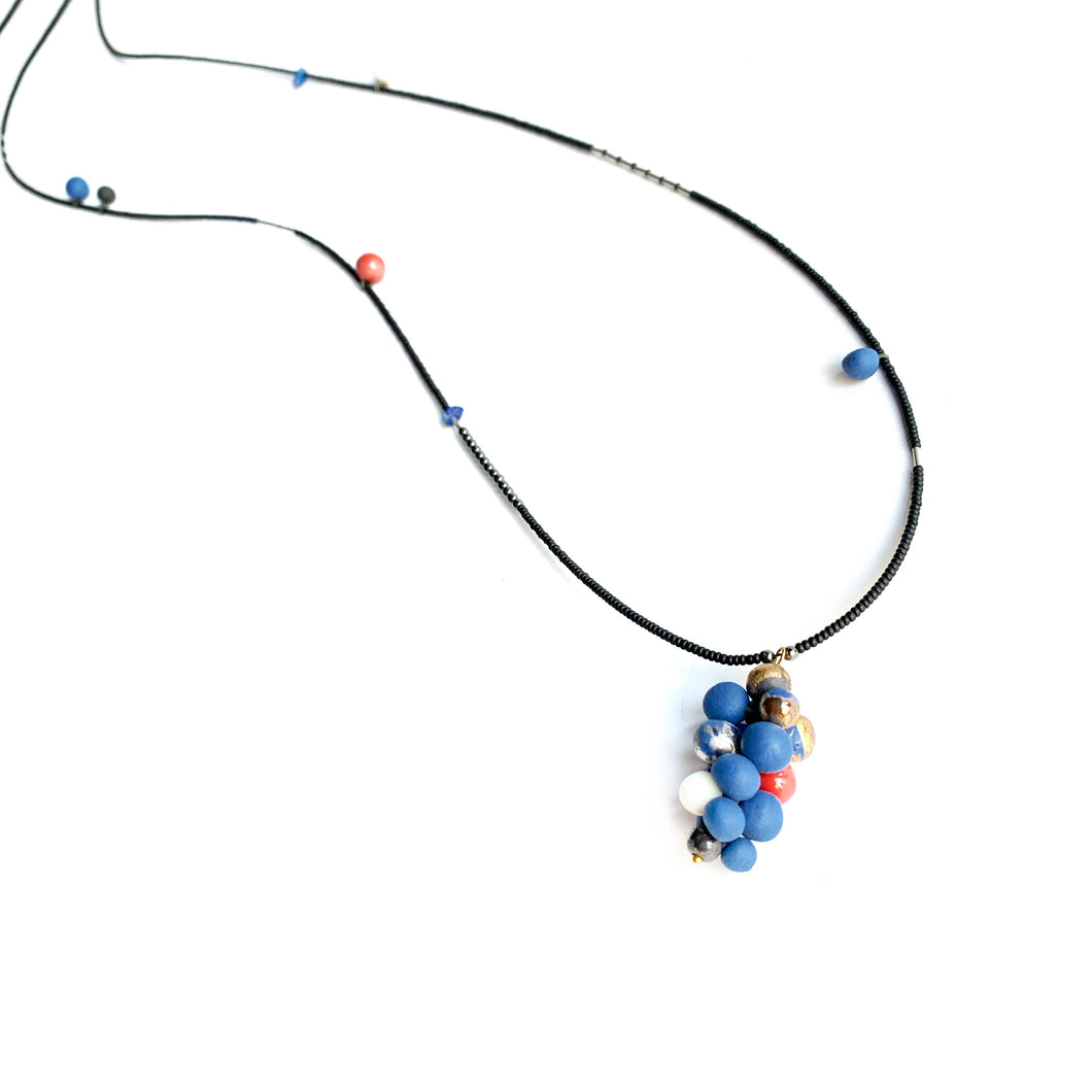 MOLECULES in blue porcelain necklace - bracelet