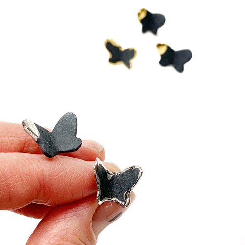 Black porcelain stud earrings BUTTERFLIES with platinum