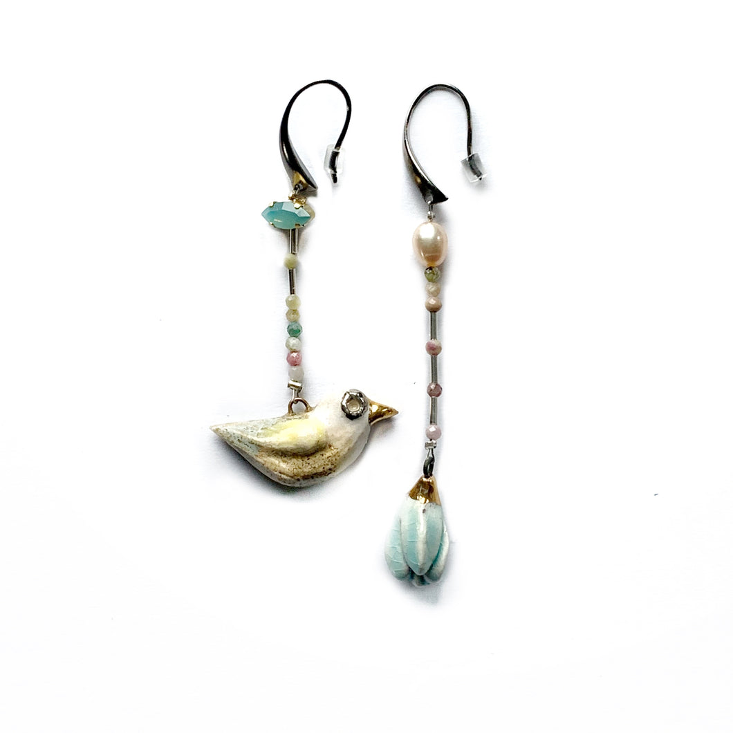 Ceramic mismatched earrings WATER FLOWER AND EARTHLY BIRD
