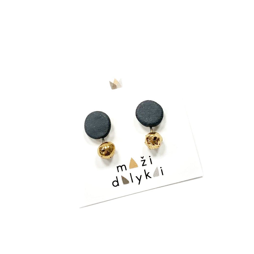 Black porcelain mismatched earrings DOTS AND CIRCLES