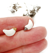 Load image into Gallery viewer, White porcelain earrings WINTER BIRDS