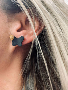 Black porcelain stud earrings BUTTERFLIES with gold
