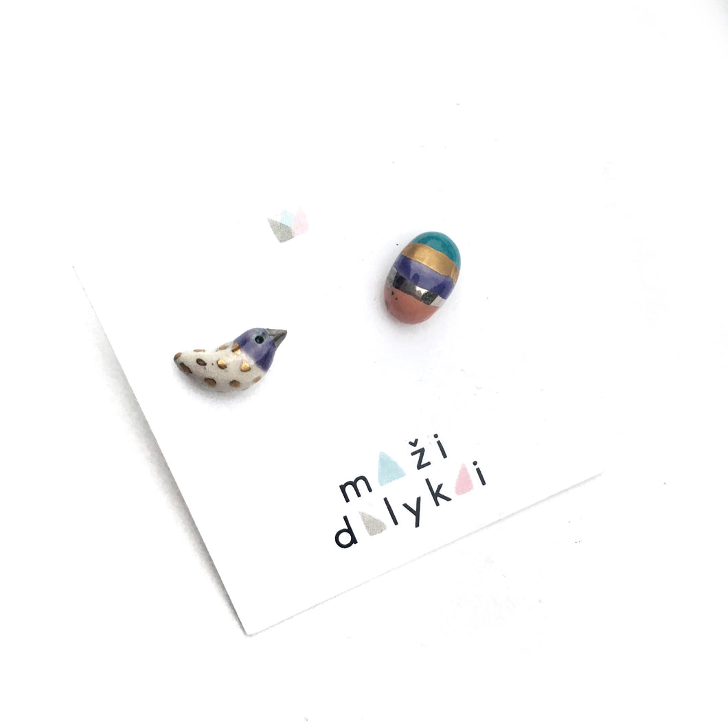 "Ceramic mismatched earrings ""Bird and violet rainbow egg"""