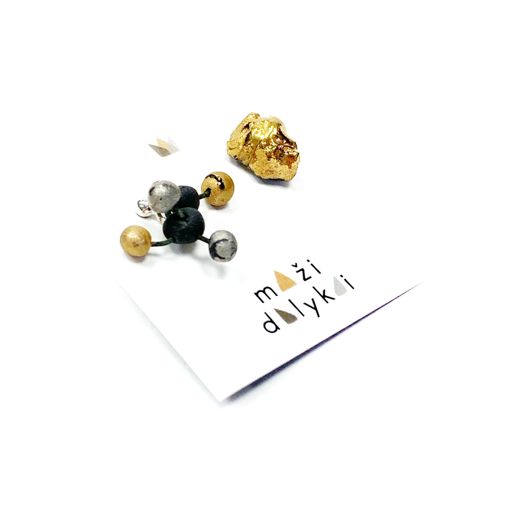 Black porcelain earrings MINI VIRUS 1