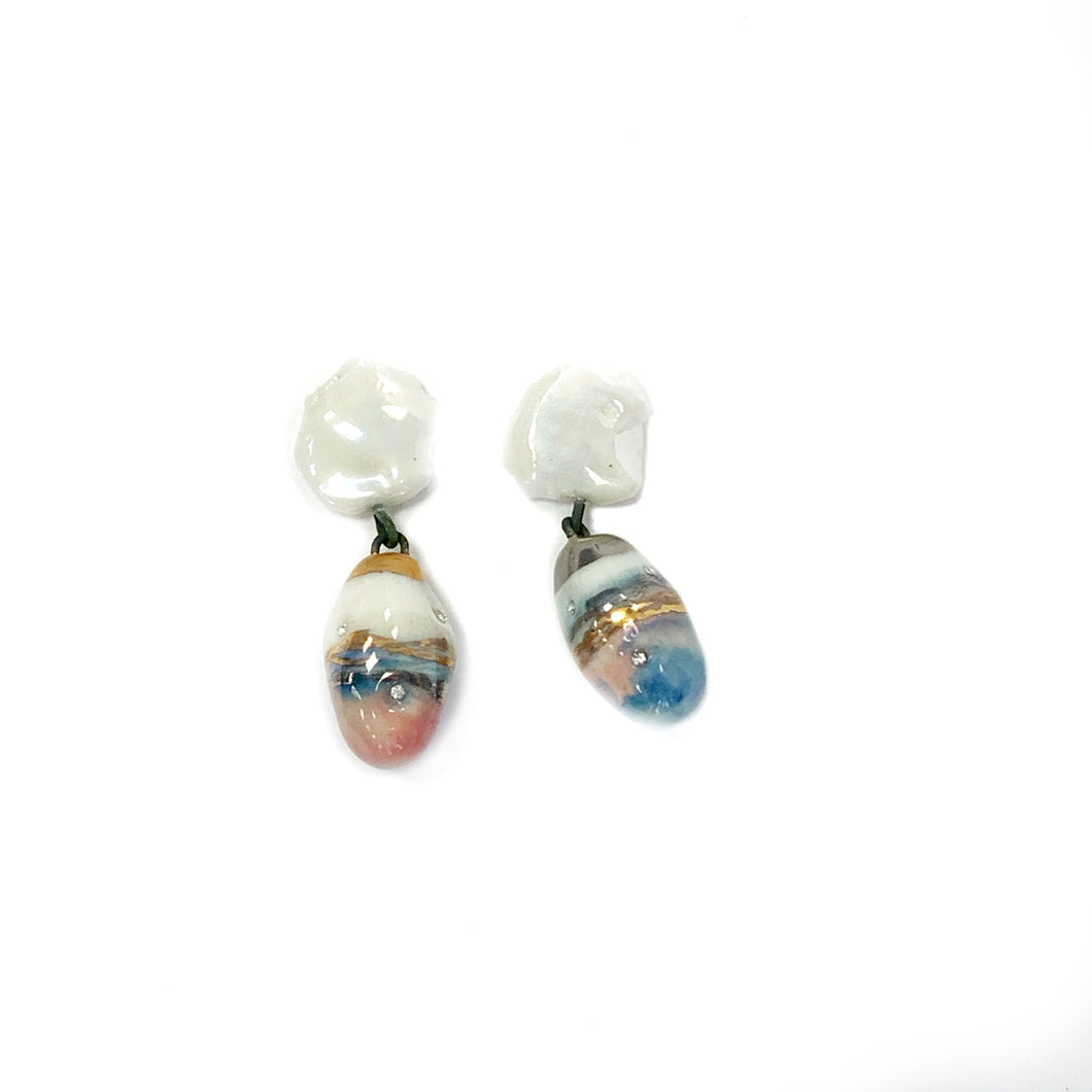 White porcelain earrings BREEZE OF SUMMER