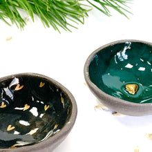 Load image into Gallery viewer, Dark ceramic midi bowl with a golden heart