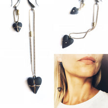 Load image into Gallery viewer, Black porcelain earrings TWO HEARTS
