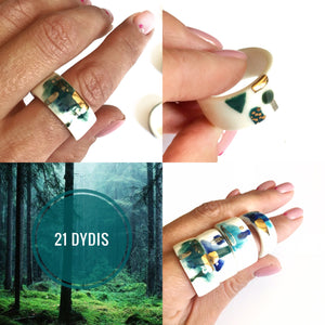 White porcelain two in one ring THE FOREST
