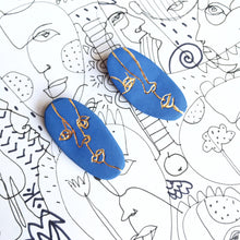 Load image into Gallery viewer, Blue porcelain FACE earrings