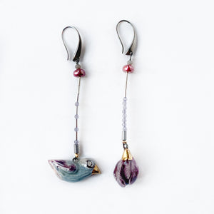 "Ceramic mismatched earrings ""Bird and lilac flower"""