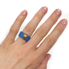 Load image into Gallery viewer, Blue porcelain ring with a golden heart