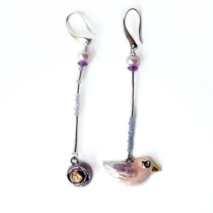 "Ceramic mismatched earrings ""Bird and its violet rose"""