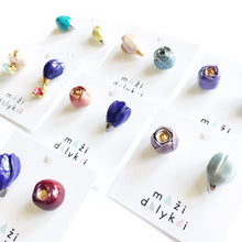 Load image into Gallery viewer, Ceramic FLORA earrings (aqua and violet)