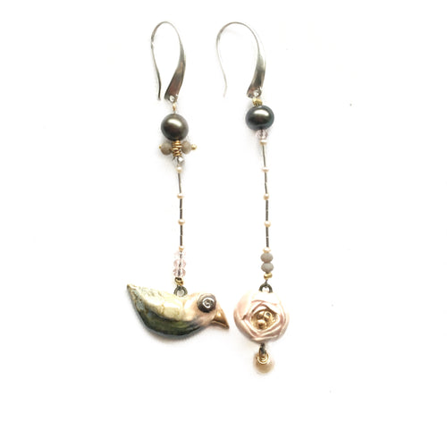 "Ceramic assymmetric earrings ""Bird and its rose"""