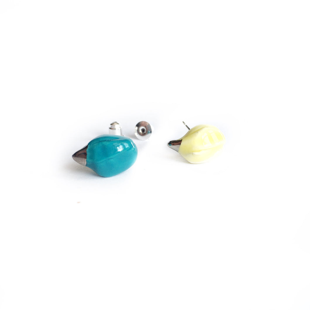 Ceramic MAGNOLIAS earrings (aqua and lemon)