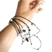 "Load image into Gallery viewer, Black and white porcelain long necklace - bracelet "" Little things"""
