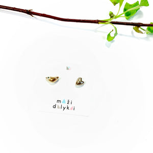 "Mini ceramic earrings ""GOLDEN BIRD AND ITS PLATINUM LOVE"""