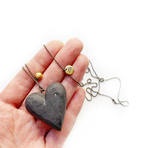 Black porcelain BIG HEART pendant