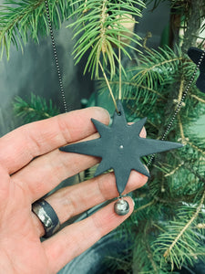 Christmas tree decorations made from black porcelain
